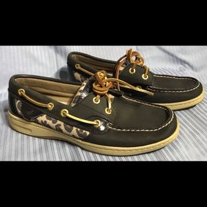 Sperry Top Siders Black Leather Leopard Print Shoe